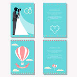Wedding collection with bride, groom silhouette and romantic dec. Wedding collection with bride, groom silhouette and cartoon romantic decorative elements  on Royalty Free Stock Photography