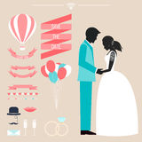 Wedding collection with bride, groom silhouette and romantic dec. Orative elements  on beige background for use in design for card, invitation, poster, banner Royalty Free Stock Photography