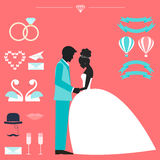 Wedding collection with bride, groom silhouette and romantic dec. Orative elements  on bright background for use in design for card, invitation, poster, banner Stock Photography
