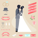 Wedding collection with bride, groom silhouette and romantic decorative elements. Wedding romantic collection with bride, groom silhouette and cartoon decorative Royalty Free Stock Image