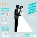 Wedding collection with bride, groom silhouette and romantic decorative elements. Wedding romantic collection with bride, groom silhouette and cartoon decorative Royalty Free Stock Photography