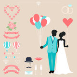 Wedding collection with bride, groom silhouette. And romantic decorative elements  on soft beige background for use in design for card, invitation, poster Royalty Free Stock Photos