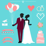 Wedding collection with bride, groom silhouette. And romantic decorative elements  on stylish blue background for use in design for card, invitation, poster Stock Image