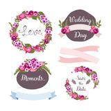 Wedding collection with hand-drawn flowers Stock Photos