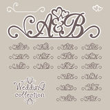 Wedding collection. Initials of Bride and Groom Royalty Free Stock Photo