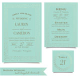 Wedding collection. Mint invitation cards. Wedding design. Vintage style Stock Photos