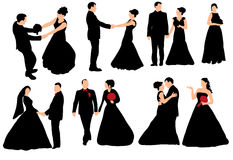 Wedding  collection. Vector  silhouette of the bride and groom wedding  collection Royalty Free Stock Photo