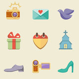 Wedding color icon set Royalty Free Stock Images