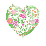 Wedding colorful flower heart. Vector wedding colorful flower heart for your design Stock Photography