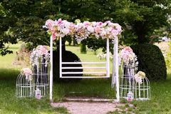 Wedding composition with a white swing Royalty Free Stock Images