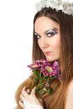 Wedding concept. Beautiful woman bride with creative make-up, body art Stock Photography
