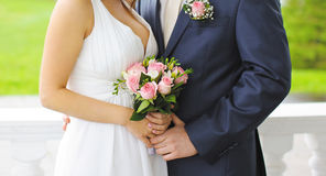 Wedding concept - bride and groom in love Royalty Free Stock Image