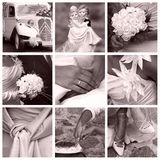 Wedding concept - collage. A collage of nine photos about wedding day theme - in pink color Royalty Free Stock Photo