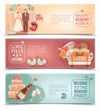 Wedding concept flat banners set stock illustration