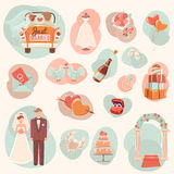 Wedding concept flat icons set Royalty Free Stock Photos