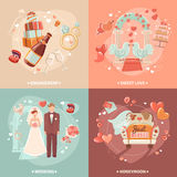 Wedding concept 4 flat icons square royalty free illustration