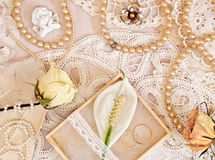 Wedding concept with flowers and pearl beads Royalty Free Stock Photos