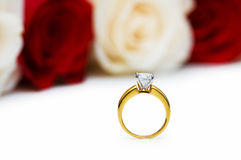 Wedding concept with roses and  rings Royalty Free Stock Images