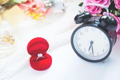 Wedding concept, Selective focus on diamond ring Stock Photography
