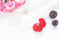 Wedding concept, Selective focus on diamond ring in red box Royalty Free Stock Images