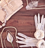 Wedding concept with women's gloves Royalty Free Stock Photo