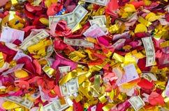 Wedding confetti background after the celebration. Royalty Free Stock Photo