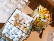 Wedding confetti. Wedding table with white confetti Royalty Free Stock Photos