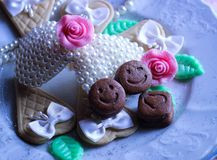 wedding cookie smile ribbon rose pearls romantic collage Royalty Free Stock Image