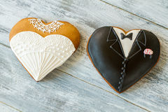 Wedding cookies on gray background. Royalty Free Stock Photo