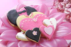 Wedding cookies on pink bridal table - closeup. Stock Image