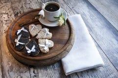 Wedding cookies with white and black sesame. Retro style. Stock Photo