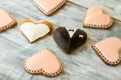 Wedding cookies on wooden background. Stock Photo
