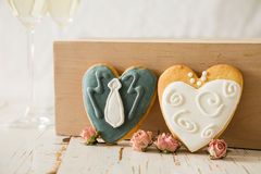 Wedding cookings of bride and groom Stock Photography
