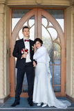 Wedding copule. Beautiful bride and groom. Just merried. Close up. Stock Photos