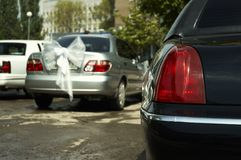 Wedding cortege. Wedding cars(special photo f/x,focus point on the  head lamp Stock Image