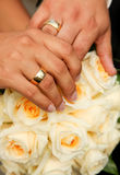 Wedding Couple. With bouquet and rings stock photos