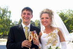 Wedding couple. Young happy wedding couple with champagne glasses Royalty Free Stock Photo