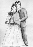 Wedding couple. Standing together. Girl wears warm mantlet Stock Images