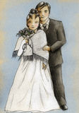 Wedding couple. Standing together. Girl wears warm mantlet Royalty Free Stock Photos