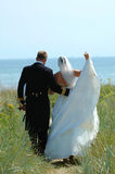 Wedding couple. Walking near the sea Royalty Free Stock Photography