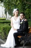 Wedding couple. Young groom holding his beautiful bride on a bench in the park royalty free stock image