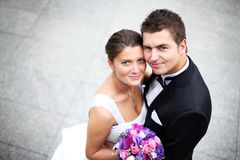 Wedding couple. Close up of a nice young wedding couple stock image