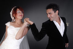 Wedding couple. Dancing at night Stock Photography