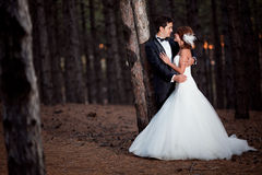 Wedding couple. Happy together at the forest Stock Photo