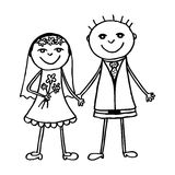 Wedding couple. Lovely bride and groom together! Hand drawing vector illustration Royalty Free Stock Photo
