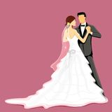 Wedding Couple. Illustration of newly married couple in wedding dress Royalty Free Stock Photo