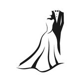 Wedding couple logo. Wedding couple dresses in silhouettes Stock Image