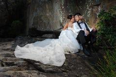 Wedding couple. Wedding bride groom couple in rock cave royalty free stock photo