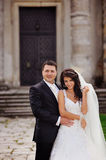 Wedding Couple. Sensual wedding Couple, groom and bride, holds each other Royalty Free Stock Image