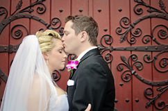 Wedding couple. A groom kissing his bride on the forehead in front of an ornate door. Formal wedding Stock Photography
